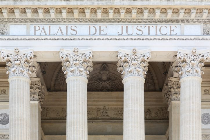Nimes,  France - May 30, 2017: Facade of the palais of Justice in Nimes, France