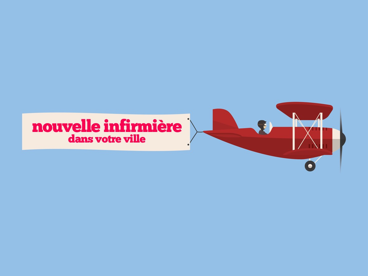 Retro airplane in the sky with poster, flat design