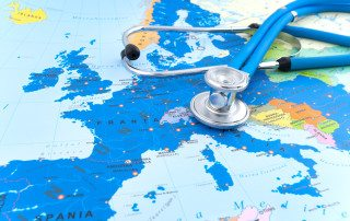 Conceptual image representing medical travel insurance. Stethoscope against Europe  political map. Full frame camera and L Glass used. XXL Image